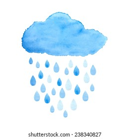 Rain (nimbus) cloud precipitation with rain drops. Watercolor illustration in vector.