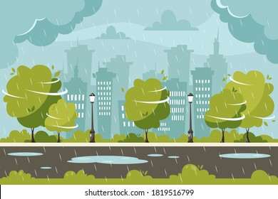 Rain on city background. Rainy and windy day. Vector illustration in flat style.