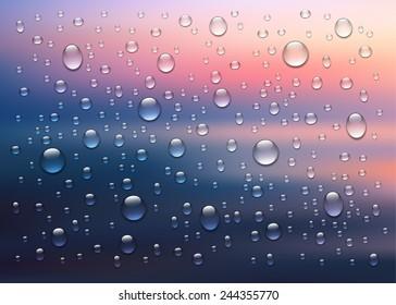 Rain on glass. Water drops isolated on background. Vector art illustration. Sunset or sunrise sky, sun light, rays of sunshine