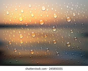 Rain on glass. Water drops isolated on background. Vector art illustration. Sunset or sunrise sky, sun light, rays of sunshine. Simple website template