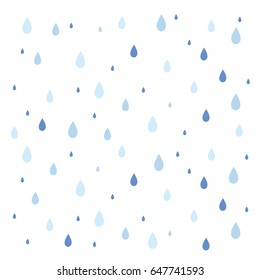 Rain pattern 3 shades of color falling in isolated background. Vector illustration.