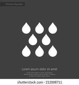 rain premium illustration icon, isolated, white on dark background, with text elements