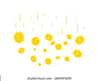 Rain of Realistic Gold coins. Coins money falling. Jackpot or success concept for your online casino . Modern background of flying gold coins. Falling money. Explosion of gold coins on background
