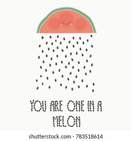 Rain from the seeds of watermelon. Lovely inscription about love. Festive greeting to the beloved. Picture to the Valentine's Day for a loved one.