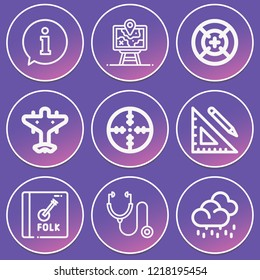 Rain, stethoscope, ruler and pencil, strategy, target, aeroplane, album icon set suitable for info graphics, websites and print media and interfaces
