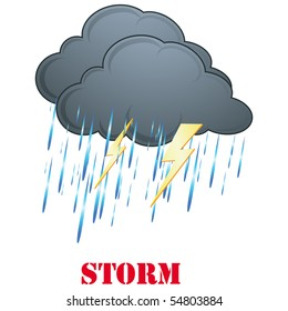 Rain, Storm weather icon isolated on white vector