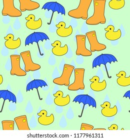 rain theme children's boots umbrella rubber ducks seamless vector pattern