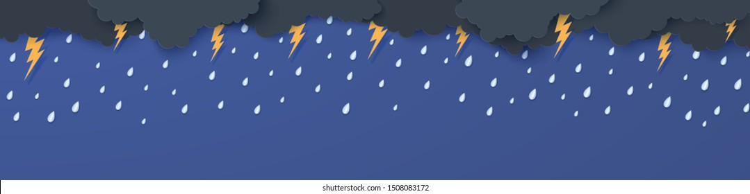 Rain thunder lightning and clouds in the paper cut style. Vector storm weather concept with falling water drops from the cloudy night sky and flash. Storm papercut background horizontal banner.