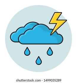 Rain with thunderstorm. Weather cartoon icon. Vector isolated illustration with clouds, rain and  lightning
