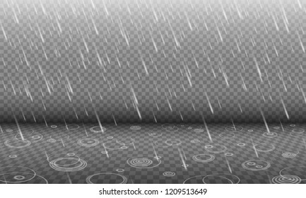 Rain with water ripples 3D effect isolated on transparency background, autumn rainfall, realistic heavy rain foreground with blurred drops and circle waves, rain design template or element