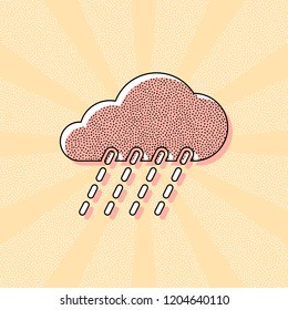 rain, weather icon. Vintage retro typography with offset printing effect. Dots poster with comics pop art background