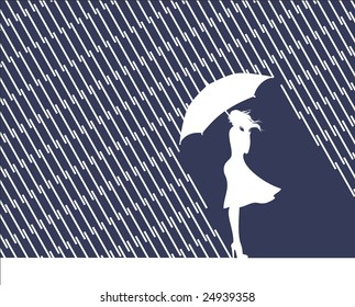 Rain and wind, women with umbrella