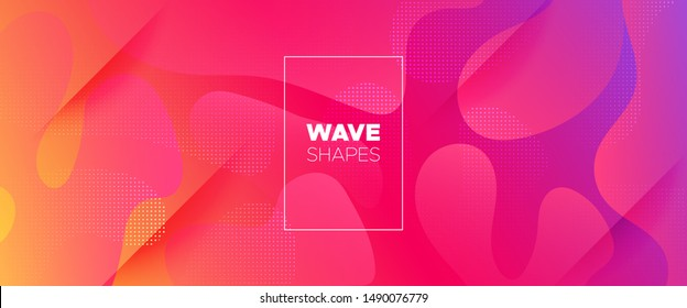 Rainbow 3d Fluid Shapes. Futuristic Gradient. Minimal Pattern. Neon Wave Brochure. Abstract Poster. Colorful Geometric Background. Orange Minimal Concept. Pink Flow Brochure. 3d Fluid Banner.