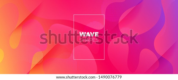 Rainbow 3d Fluid Shapes. Futuristic Gradient. Minimal Pattern. Neon Wave Brochure. Abstract Poster. Colorful Geometric Background. Orange Minimal Concept. Pink Flow Brochure. 3d Fluid Banner.