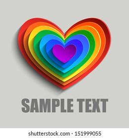 Rainbow abstract hearts