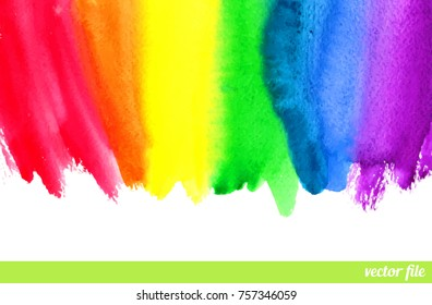 Rainbow. Abstract painting background. Border frame. Watercolor, acrylic. Hand drawn, paper texture. Vector. Colorful. Red, orange, yellow, green, blue, indigo, purple, white color. Web template
