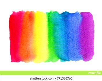 Rainbow. Abstract painting background. Watercolor. Hand drawn, paper texture. Vector. Colorful. Red, orange, yellow, green, blue, indigo, violet, purple, white colors. Web, website, mobile template