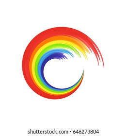 Rainbow in abstract shape for your design, banners isolated on white background. Rainbow icon, logo template