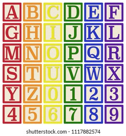 Rainbow Alphabet Blocks - Complete set of 26 letter blocks (A through Z) and 10 number blocks (0 through 9)