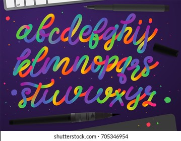 Rainbow alphabet. Colorful vector typography. Modern creativity script font.