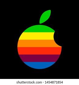 Rainbow apple. Rainbow logo. Bitten apple icon. Vector illustration. EPS 10.