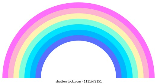 Rainbow arc shape, half circle, pastel neon spectrum colors, colorful striped pattern. Vector illustration.
