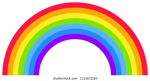 Rainbow arc shape, half circle, bright spectrum colors, colorful striped pattern. Vector illustration.