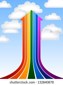 Rainbow arrow, EPS 10, file contains transparency.