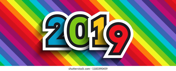 Rainbow background with 2019 paper numbers. For New Year colorful designs of greeting cards, website banners and headers, etc.