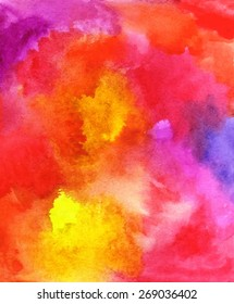 Rainbow background. Abstract hand painted watercolor decorative chaotic colorful texture for design. Hand drawn picture. Handmade overlay backdrop. Bright painting with blots.Vector format.