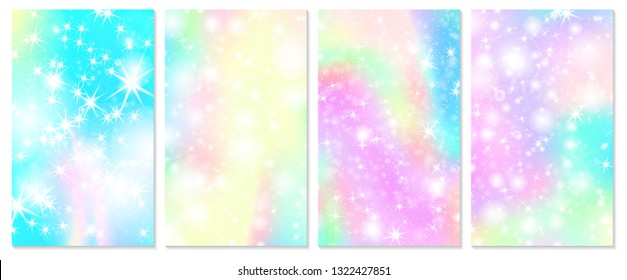 Rainbow background. Holographic sky in pastel color. Bright hologram mermaid pattern in princess colors. Vector illustration. Unicorn Fantasy gradient colorful rainbow backdrop.