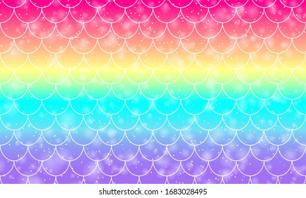 Rainbow background. Kawaii colorful backdrop. Holographic sky in pastel color. Bright mermaid pattern in princess colors. Vector illustration. Unicorn rainbow background.