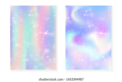 Rainbow background with kawaii princess gradient. Magic unicorn hologram. Holographic fairy set. Vibrant fantasy cover. Rainbow background with sparkles and stars for cute girl party invitation.