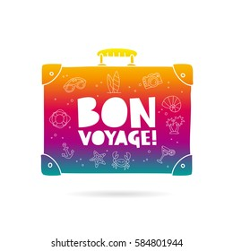 Rainbow bag with the inscription - Bon Voyage and summer icons. Trend lettering. Vector illustration on white background