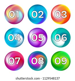 Rainbow ball like buttons with numbers options design