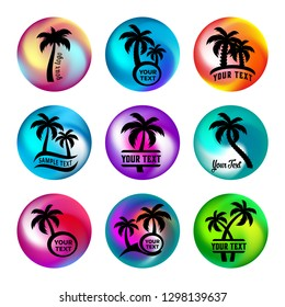 Rainbow ball like buttons with palm tree icons