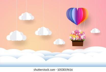 rainbow balloon , paper art style, heart in the sky