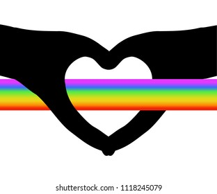 Rainbow band through hollow heart shape (silhouette hands), white (transparent background), vector illustration. Concepts of struggle for love, valentine, happiness (rainbow) and sadness (black heart)