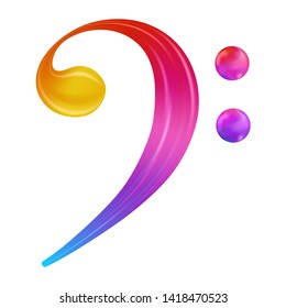 Rainbow Bass Clef Musical Note . Colorful Gradient Icon