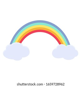 rainbow between two clouds. Isolated vector illustration