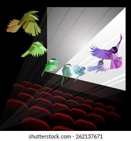 Rainbow bird in motion. Low-poly. Cinema