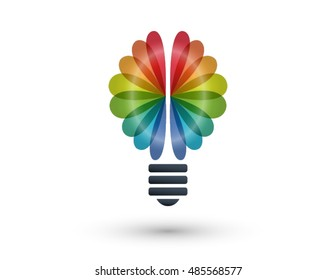 Rainbow brain and light bulb logo. 3D icons and design elements. Bright and colorful company branding concept.