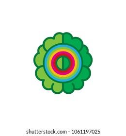 Rainbow Brain Logo Icon Design
