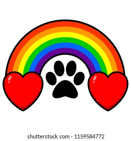 Rainbow Bridge with Hearts - A vector cartoon illustration of a rainbow bridge with a paw print and some hearts.
