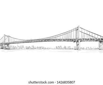 Rainbow bridge. Minato City, Tokyo. Japan. Hand drawn sketch. Vector illustration.