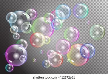 rainbow bubbles on dark transparent background. vector soap water bubbles