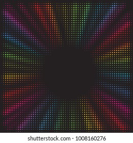 Rainbow burst background. Halftone effect. Abstract radial, convergent lines. Explosion, radiation, zoom, visual effect. Sun or star rays in pop art style. 80 s style banner design