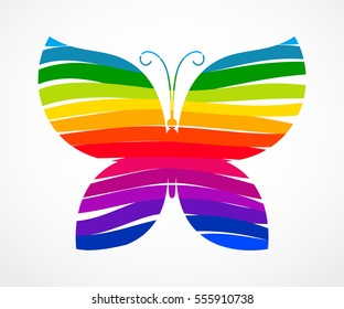Rainbow butterfly consisted of ribbons