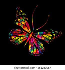 Rainbow Butterfly. Vector