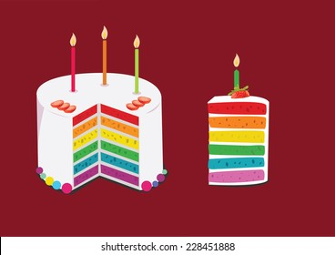 rainbow cake decorated with birthday candles. concept vector illustration
